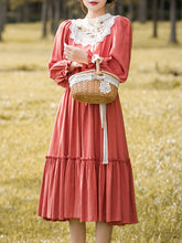 Load image into Gallery viewer, Lace Orange Red Long Puff Sleeve Vintage Dress