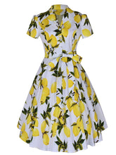 Load image into Gallery viewer, 1960S Lemon Print Swing Dress With Belt