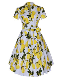 1960S Lemon Print Swing Dress With Belt
