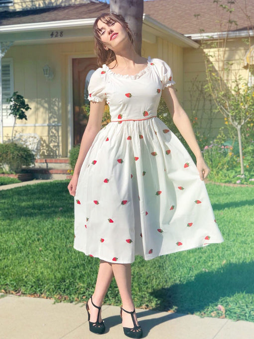 Strawberry  Embroidered Puff Sleeve Vintage Cotton Dress