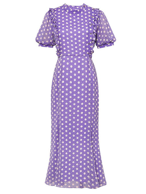 Purple Polka Dots Puff Sleeve Vintage Chiffon Dress