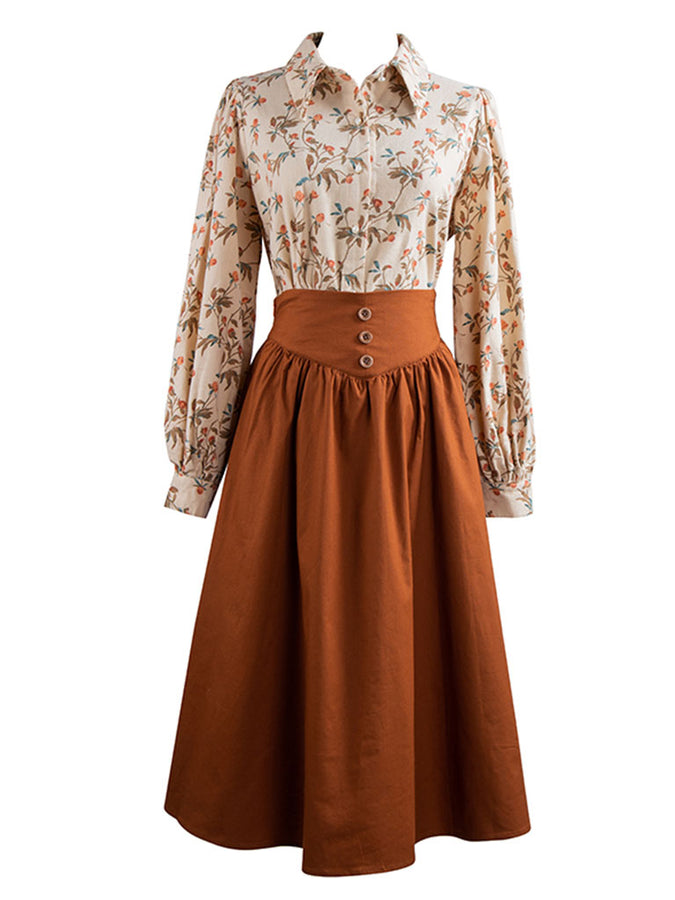 Orange Long Sleeve Blouse And Skirt Vintage Set 1950S Dress