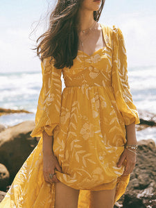 Yellow Heart Collar Vintage Embroidery Maxi Dress