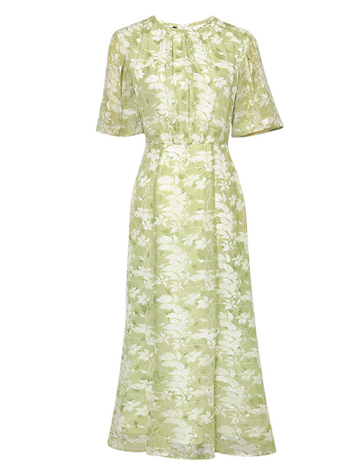 Green Floral Short Sleeve Vintage Chiffon Dress