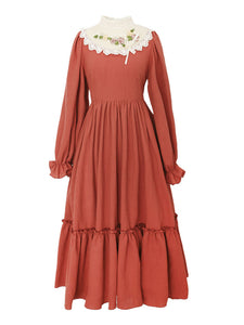Lace Orange Red Long Puff Sleeve Vintage Dress
