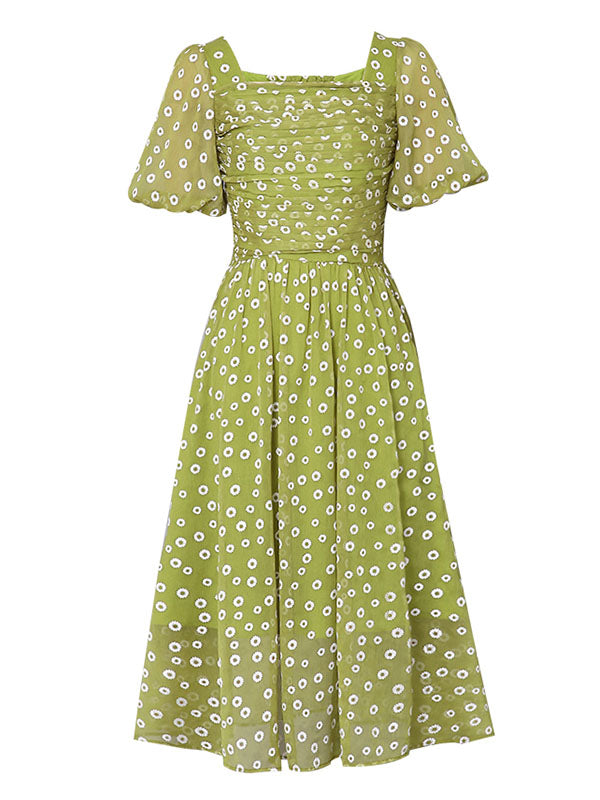 Green Daisy Puff Sleeve Vintage Chiffon Dress
