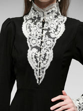 Load image into Gallery viewer, Black Lace Stand Collar Long Sleeve Vintage Victorian Dress