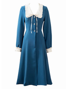 Lake Blue Chelsea Collar Vintage Long Sleeve Fall 50S Dress