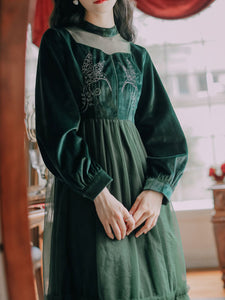 Emeral Green Semi Sheer Long Sleeve 1950S Velvet Vintage Dress