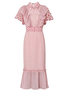 Butterfly Sleeve Ruffles Polka Dots Vintage Mermaid Dress