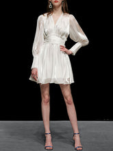 Load image into Gallery viewer, 1960S White Puff Long Sleeve Organza Dress