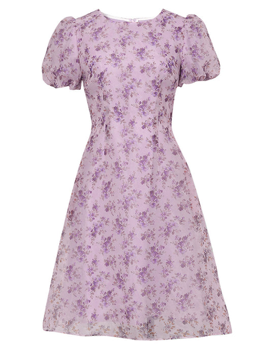 1960S Purple Puff Sleeve Organza Dress