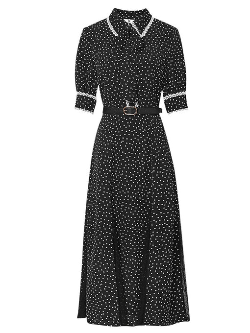 1940S Polka Dots Turn Down Collar Short Sleeve Vintage Chiffon Dress