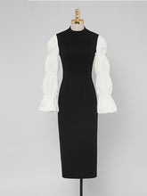 Load image into Gallery viewer, Black And White Lantern Long Sleeve 1940S Vintage Dress