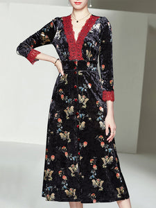 Lace V Neck Floral Velvet Dress Vintage Dress