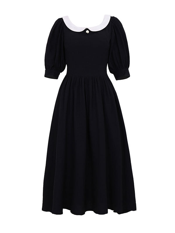 Peter Pan Collar Vintage Backless  Puff Sleeve Little Black Dress