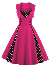 Load image into Gallery viewer, Polka Dot Square Neck Slim Fit Vintage Dress