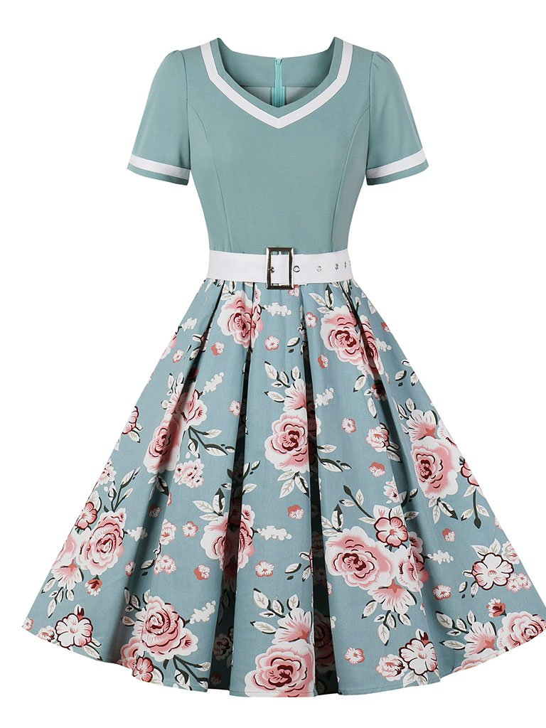 Sweet Heart Collar 1950S Vintage Floral Swing Dress