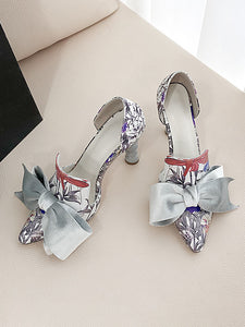 Big Bow Cylindrical Heel Pointed Toe Vinatge Shoes