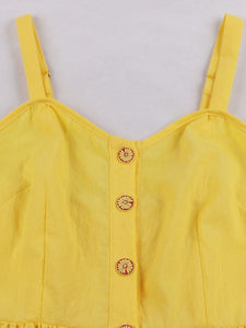 Yellow Maxi Dress Vintage Dress For Women With Pockets