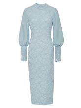 Load image into Gallery viewer, 【Pre-Sale】Blue Jacquard Lantern Sleeve 1940S Vintage Dress
