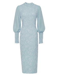【Pre-Sale】Blue Jacquard Lantern Sleeve 1940S Vintage Dress
