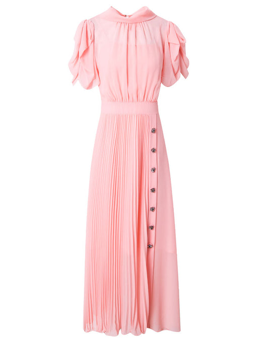 Puff Sleeve Chiffon Swing Dress With Belt