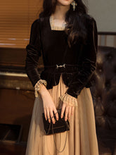 Load image into Gallery viewer, Black Square Collar Long Sleeve Velvet Dress