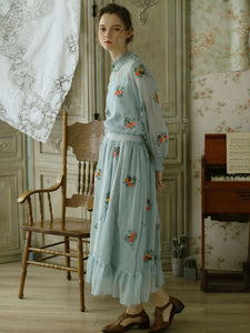 Embroidered Chiffon Fall Long Sleeve Vintage Set Dress