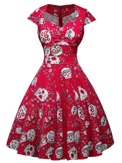 Halloween Red Skull Printed V Neck Vintage Dress