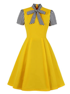 Bow Collar Short Sleeve 1950S Swing Dress
