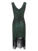 Load image into Gallery viewer, 2 Colors 1920s V Neck Sequined Flapper Dress