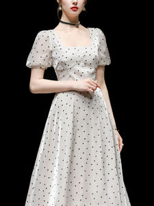 Blue Polka Dots Puff Sleeve Vintage Style 1950S Dress