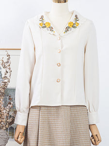 Flower Embroidered Collar Plaid Vintage Fall Long Sleeve Shirt Set Detachable Dress