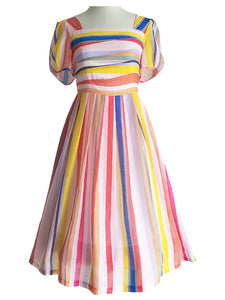 Stripes Square Collar Puff Sleeve Mrs Maisel RainBow Dress