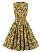Load image into Gallery viewer, Yellow Floral Crew Neck Sleeveless Vintage 1950S Dress