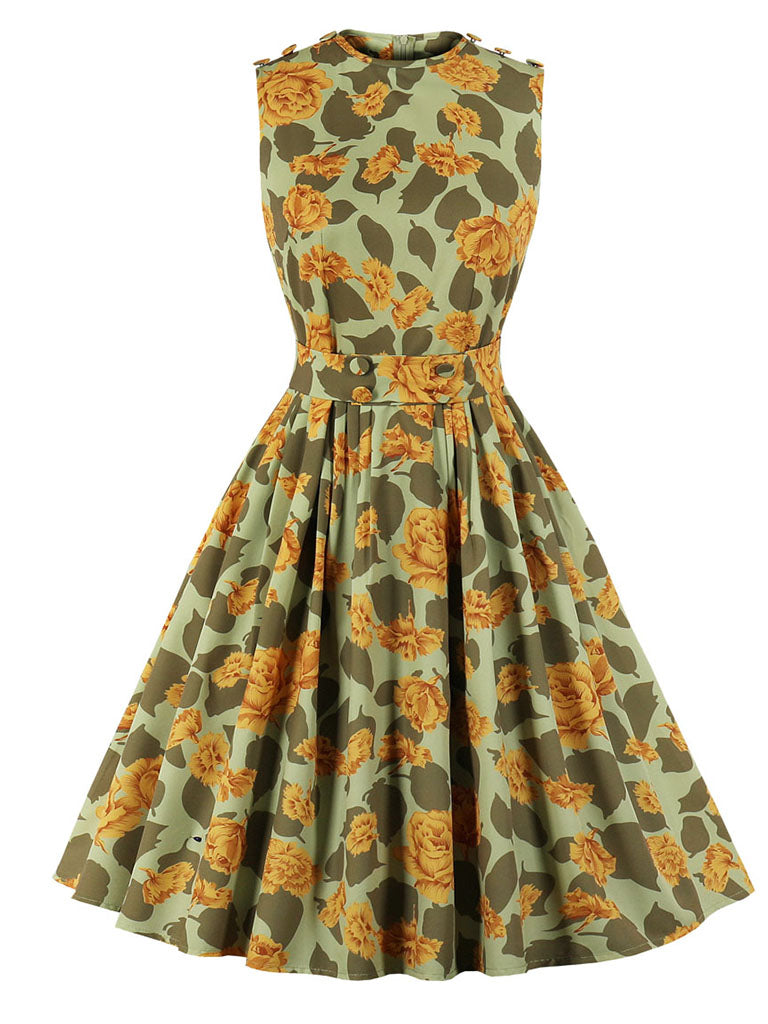 Yellow Floral Crew Neck Sleeveless Vintage 1950S Dress