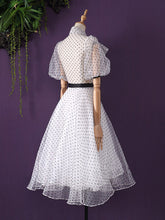 Load image into Gallery viewer, White Polka Dots  Puff Sleeve 50S Dress