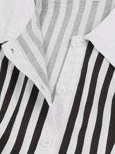 Load image into Gallery viewer, 【Pre-Sale】Beetlejuice Costume Black and White Vertical Stripe Swing Dress With Tie