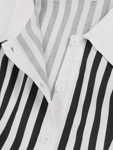 【Pre-Sale】Beetlejuice Costume Black and White Vertical Stripe Swing Dress With Tie
