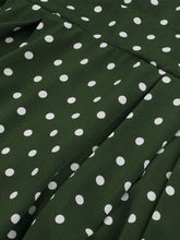 Load image into Gallery viewer, 1950s Dark Green Polka Dots Puff Sleeve Vintage Dress