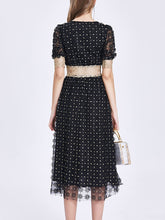 Load image into Gallery viewer, Embroidery Daisy V Neck 50S Lace Dress