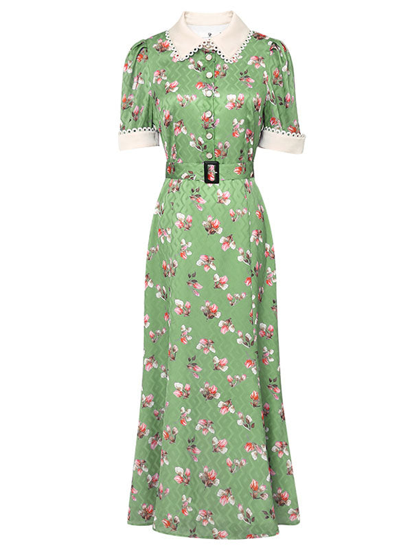 1940S Green Floral Turn Down Collar Short Sleeve Vintage Chiffon Dress