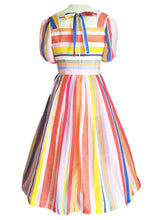 Load image into Gallery viewer, Stripes Square Collar Puff Sleeve Mrs Maisel RainBow Dress