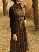 Load image into Gallery viewer, 1950S Plaid Long Sleeve Vintage Cape Dress Set