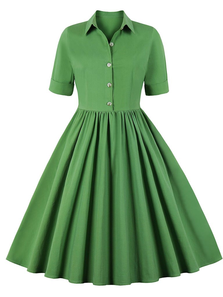 Solid Color 1950S Vintage Swing Dress