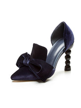 Load image into Gallery viewer, Big Bow Velvet Cylindrical Heel Pointed Toe Vinatge Shoes