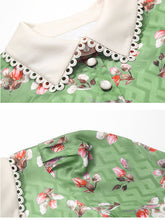 Load image into Gallery viewer, 1940S Green Floral Turn Down Collar Short Sleeve Vintage Chiffon Dress