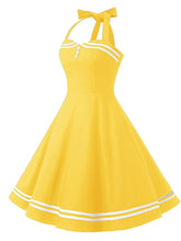 Load image into Gallery viewer, 1950S Polka Dots Halter Sailor Style Dress