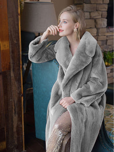 Soft Faux Fur Coat Women V Neck Long Sleeve Maxi Winter Coat
